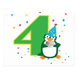 4ème Carte postale de pingouin d'anniversaire