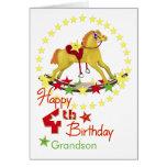 4ème Étoiles de cheval de basculage d'anniversaire Carte De Vœux