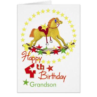 4ème Étoiles de cheval de basculage d'anniversaire Cartes