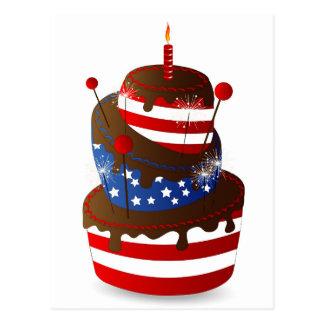 4ème gâteau heureux de célébration carte postale