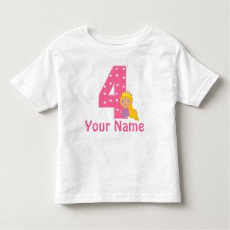4ème Princesse Girls Personalized Shirt T-shirt Pour Les Tous Petits
