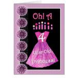 4ème princesse heureuse d'anniversaire - robe et b cartes