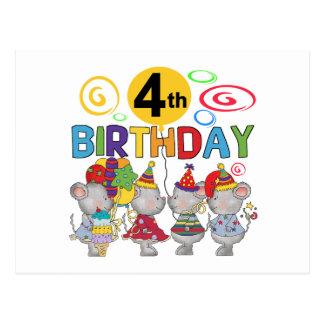 4èmes T-shirts et cadeaux d'anniversaire de souris Carte Postale