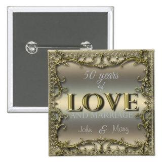 50 ans d'amour badge carré 5 cm