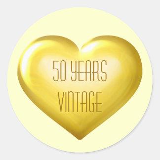 50 ans d'anniversaire d'or de coeur vintage d'or sticker rond