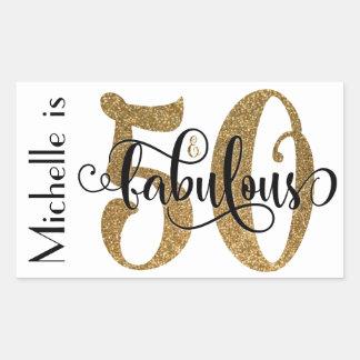 50 et anniversaire fabuleux 3 de typographie de sticker rectangulaire
