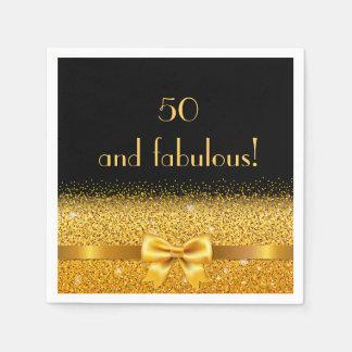 50 et arc d'or chic fabuleux avec le noir serviette en papier