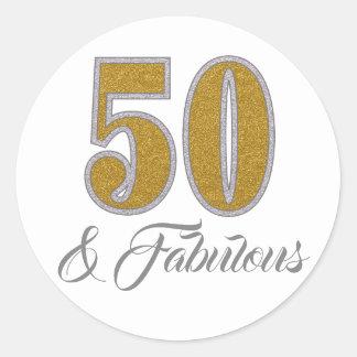 50 et autocollant d'or fabuleux de conception de