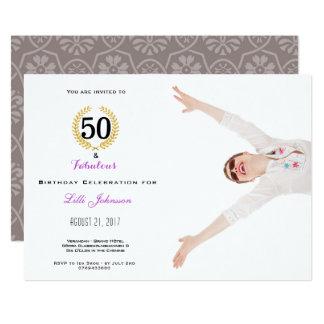 50 et carte fabuleuse d'invitation de fête carton d'invitation  12,7 cm x 17,78 cm