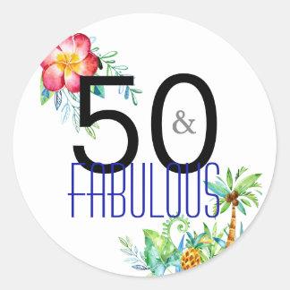50 et cinquantième autocollants tropicaux fabuleux
