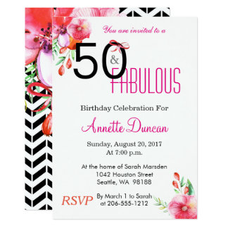 50 et cinquantième fête d'anniversaire élégante carton d'invitation  12,7 cm x 17,78 cm