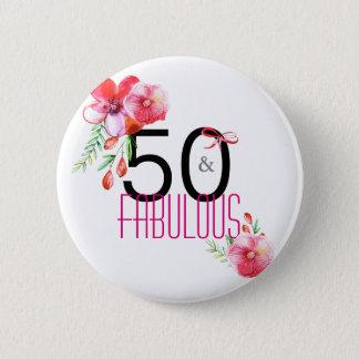 50 et cinquantième fête d'anniversaire florale badges