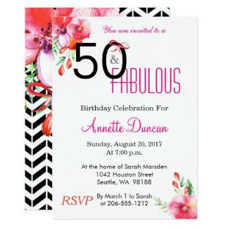50 et cinquantième invitation florale fabuleuse