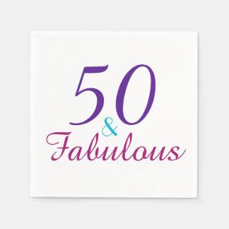50 et fête d'anniversaire colorée fabuleuse serviettes jetables