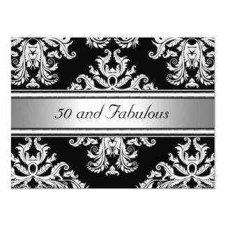 50 et fête d'anniversaire fabuleuse de damassé carton d'invitation  16,51 cm x 22,22 cm