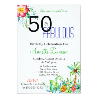 50 et invitation tropicale fabuleuse de partie