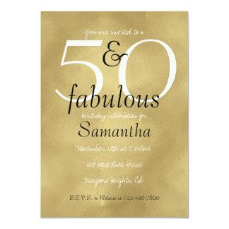 50 et or fascinant fabuleux carton d'invitation  12,7 cm x 17,78 cm