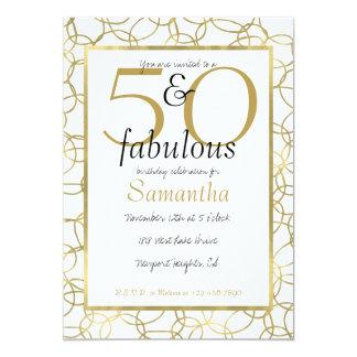50 et partie blanche de cercles d'or fascinant carton d'invitation  12,7 cm x 17,78 cm