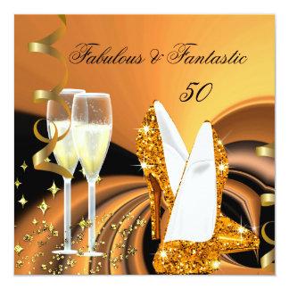 50 fabuleux fête d'anniversaire abstraite carton d'invitation  13,33 cm
