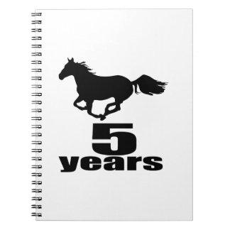 5 ans de conceptions d'anniversaire carnet à spirale