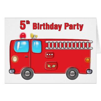 5ème anniversaire de camion de pompiers fabuleux cartes
