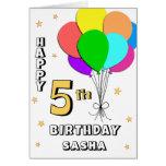 5ème carte d'anniversaire remplie par ballon
