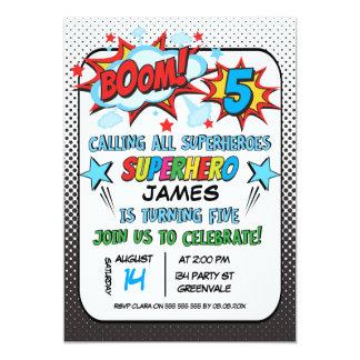 5ème invitation de fête d'anniversaire de super