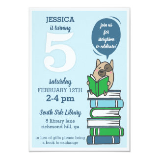 5ème Invitation de livre de partie de bibliothèque