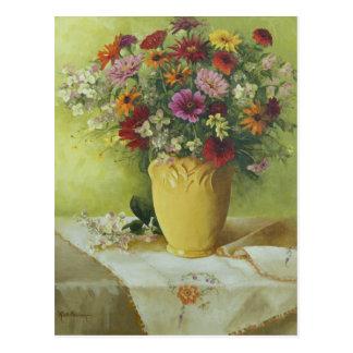6021 Zinnias dans le vase jaune à McCoy Carte Postale