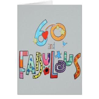 60 et soixantième carte d'anniversaire fabuleuse