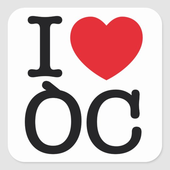 "6 autocollants ""I Love Oc"" planche de 6 stickers"