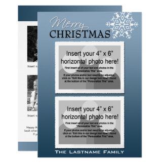 6 flocons de neige de vacances de photo - bleu carton d'invitation  12,7 cm x 17,78 cm
