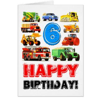 6ème anniversaire de grands camions carte de vœux