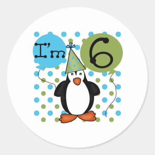 6ème Anniversaire de pingouin Adhésif Rond