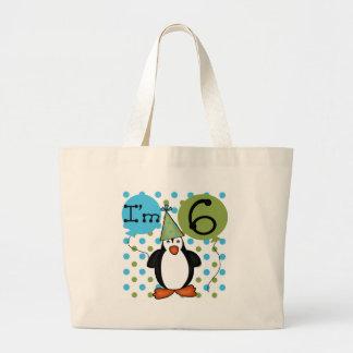 6ème Anniversaire de pingouin Sac De Toile