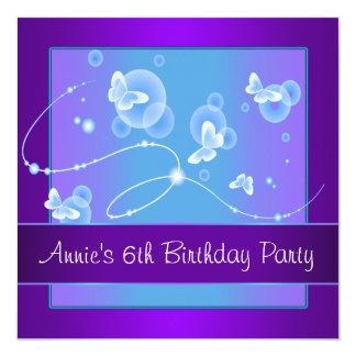6ème fête d'anniversaire de papillon pourpre carton d'invitation  13,33 cm