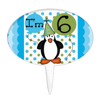 6ème gâteau d anniversaire de pingouin Topper Étiquette À Gâteau