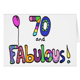 70 et soixante-dixième anniversaire fabuleux et carte de vœux