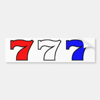 777 blancs rouges et bleus autocollant de voiture