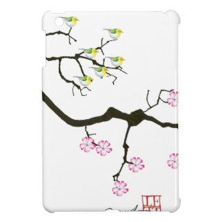 7 fleurs de Sakura avec 7 oiseaux, fernandes Coque iPad Mini