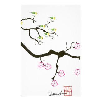7 fleurs de Sakura avec 7 oiseaux, fernandes Papier À Lettre Customisé