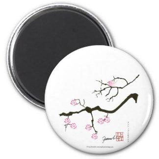 7 fleurs de Sakura avec l'oiseau rose, fernandes Magnet Rond 8 Cm