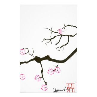 7 fleurs de Sakura avec l'oiseau rose, fernandes Motifs Pour Papier À Lettre