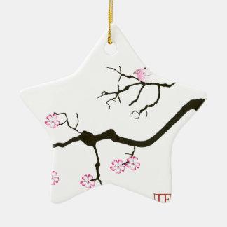 7 fleurs de Sakura avec l'oiseau rose, fernandes Ornement Étoile En Céramique