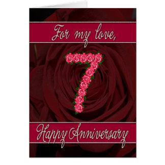 7ème carte d'anniversaire avec les roses et le