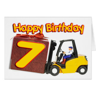 7ème carte d'anniversaire avec un chariot