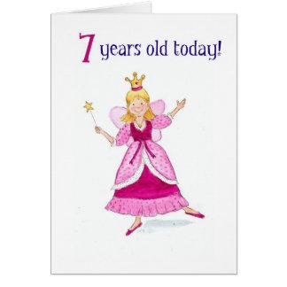 7ème carte d'anniversaire de princesse féerique
