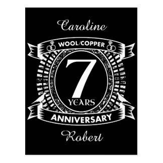 7ème cuivre de laine d'anniversaire de mariage carte postale