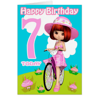 7ème Fille assez petite de carte d'anniversaire