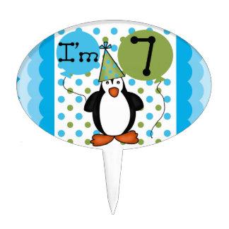 7ème gâteau d anniversaire de pingouin Topper Piques À Gâteaux